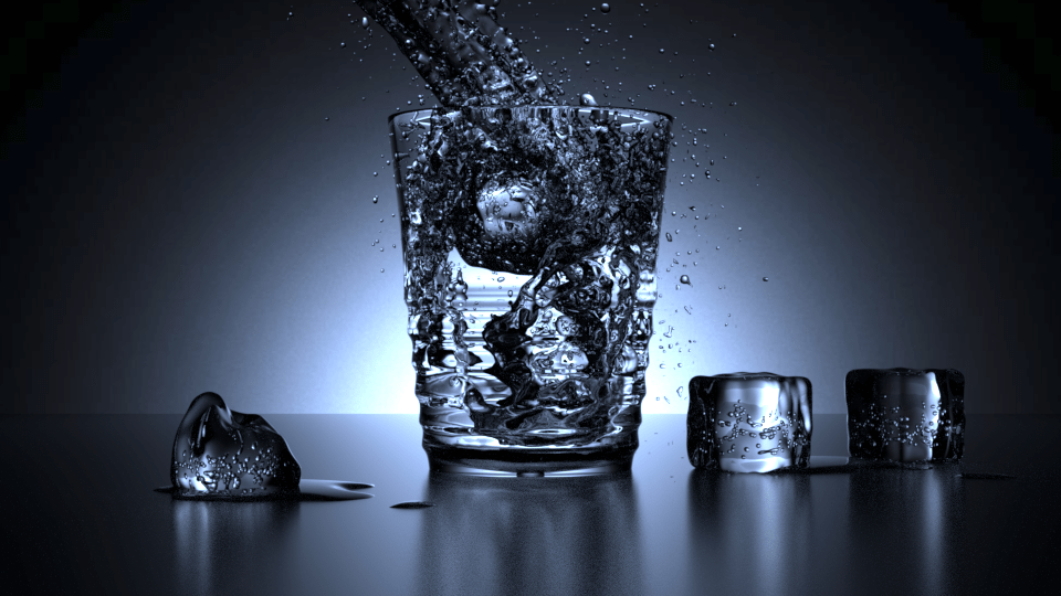 Glass of water 3D rendering with fluid simulation