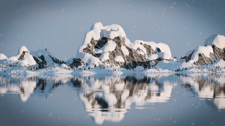 Mointain lake environment 3D rendering
