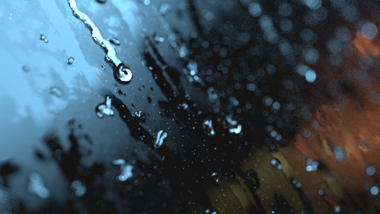 Raindrops on window glass 3D rendering