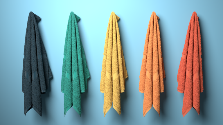 Towel range 3D rendering cloth simulation